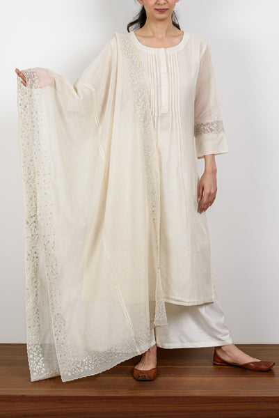 Floral Embroidery & Pintucks Kurta Set