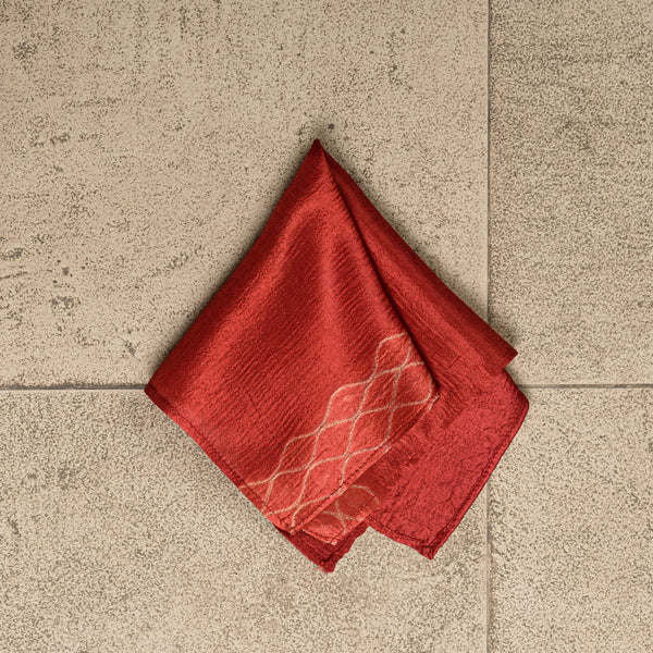 Red Silk with Narrow Shibori Pocket Square
