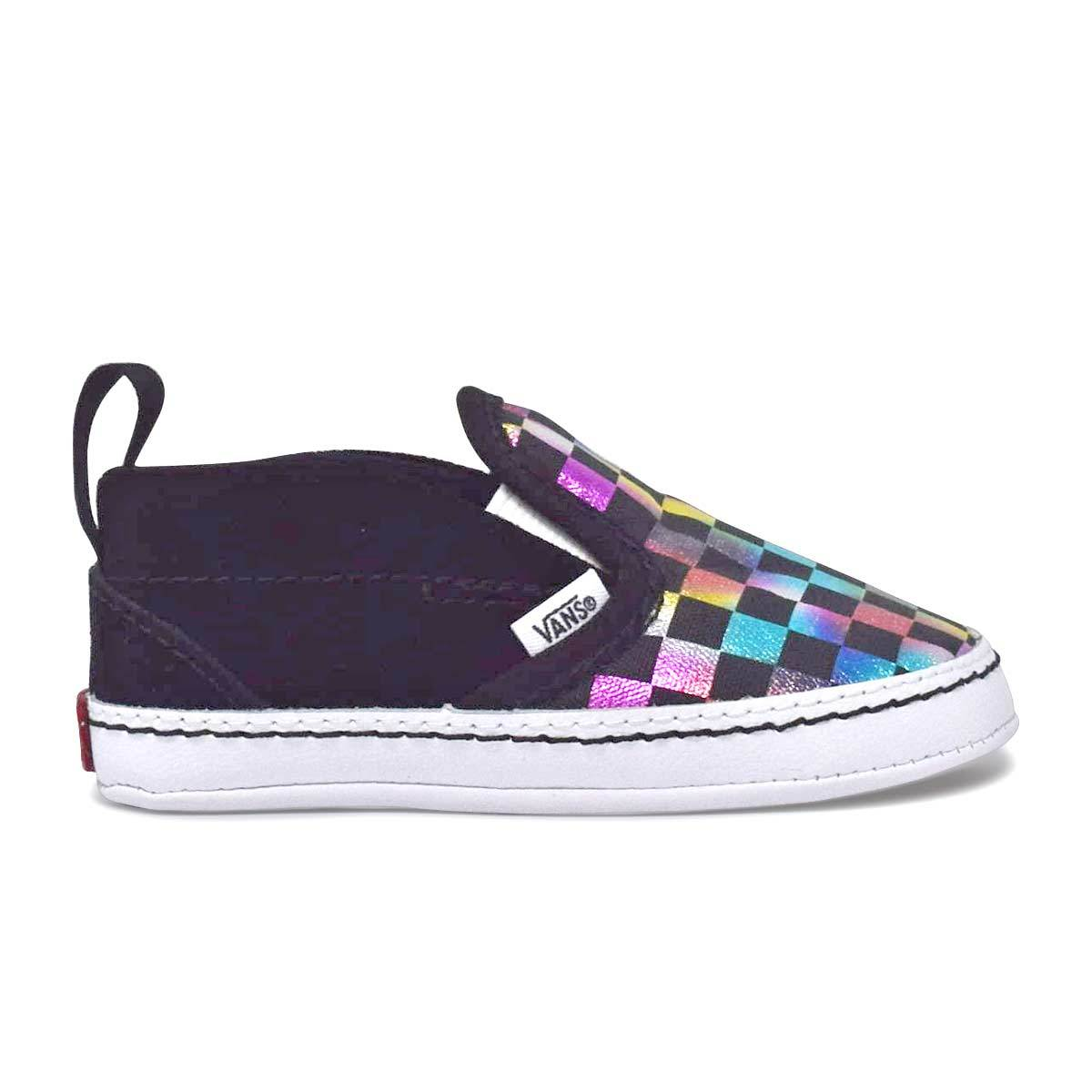 Infant Checker Slip-On V Crib Shoes (0-1 year) Iridescent Checkerboard