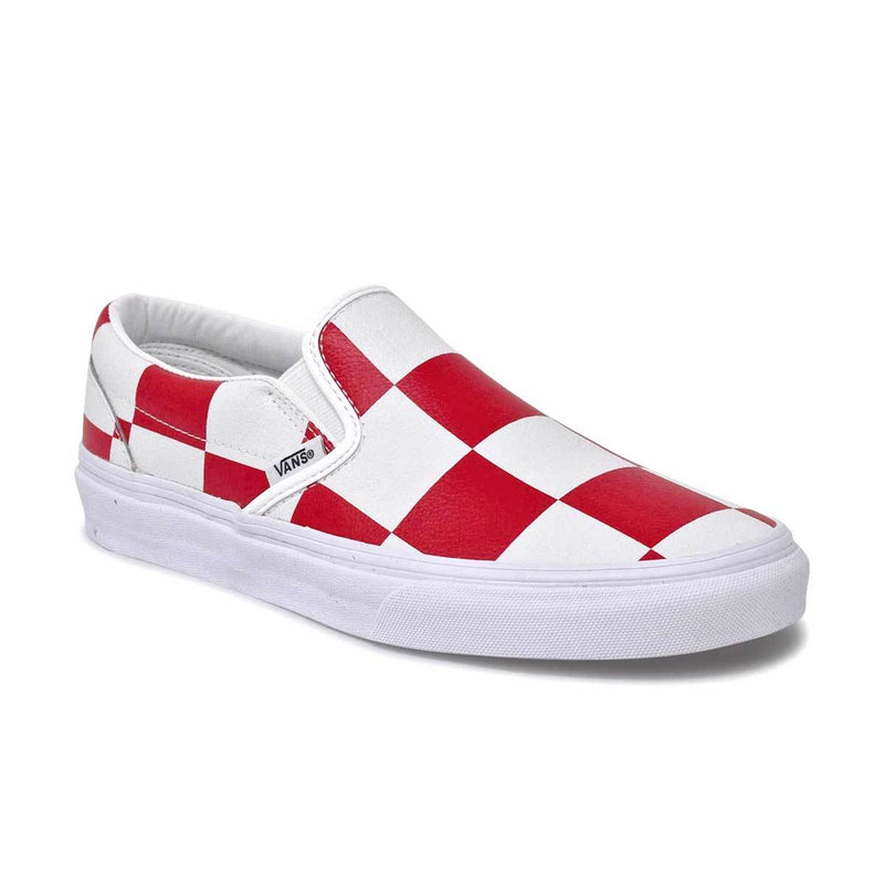Leather Check Classic Slip-On White/Red
