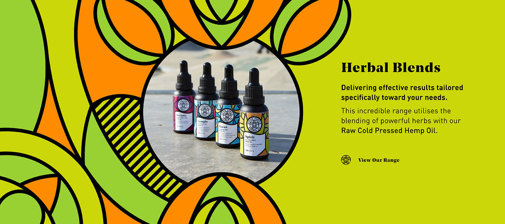 Graphic highlighting Hippie Turtle Herbal Co® herbal blend range infused with cold pressed full spectrum CBD oil