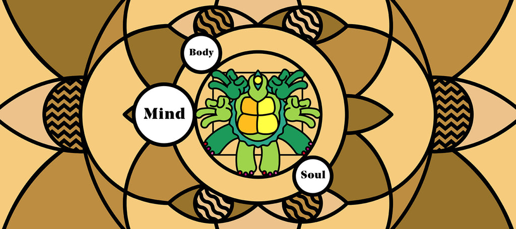 Mind Body Soul Hippie Turtle Graphic over brown background highlighting CBD benefits