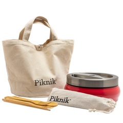 Piknik cotton bag, bamboo utensils, and eco-friendly food container