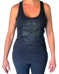 D-Dey Black on Black Crest Women's Tank Top - Soft, Comfortable and Pre-Shrunk
