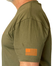 Load image into Gallery viewer, D-Dey Military Green and Orange Crosshair T - Shirt, Soft, Comfortable and Pre-Shrunk