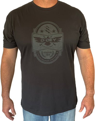 D-Dey Black on Black Crest T-Shirt, Soft, Comfortable and Pre-Shrunk