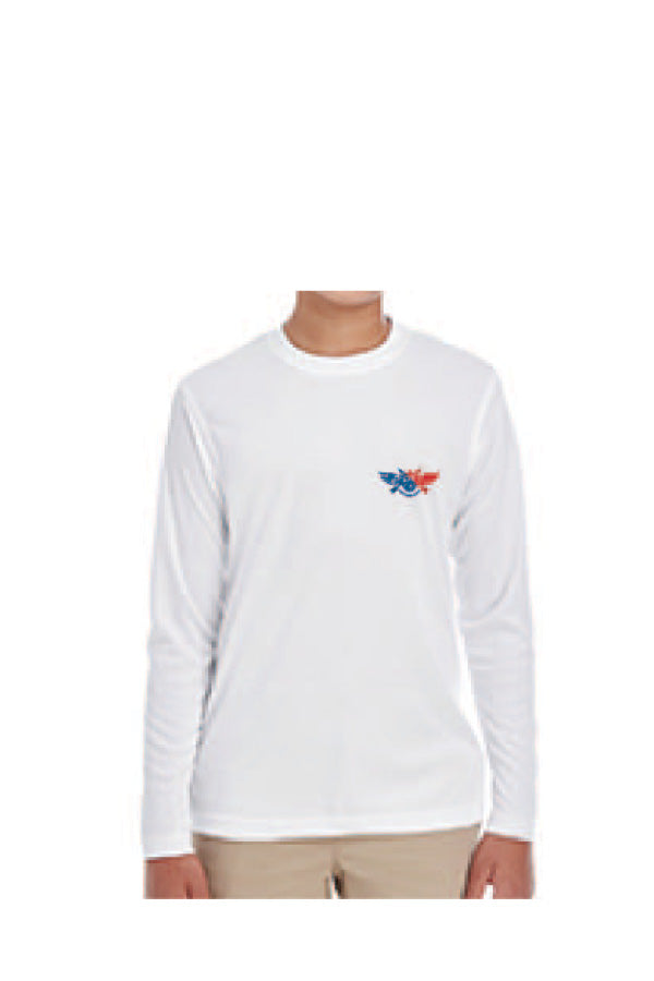 D-Dey, Patriotic White, Long-Sleeve, Cool and Dry Sports Performance Interlock T-Shirt