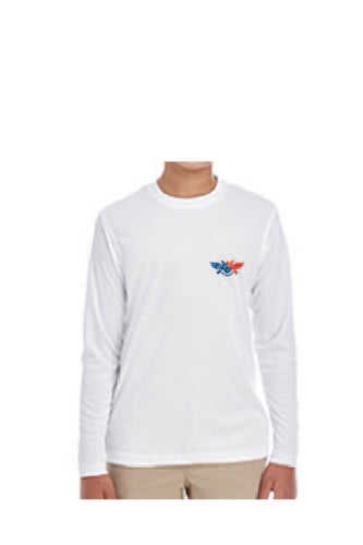 D-Dey, Patriotic White, YOUTH, Long-Sleeved, Cool and Dry Sport Performance Interlock T-Shirt