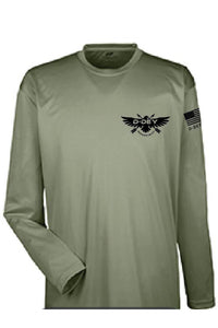 D-Dey, Military Green, Long-Sleeve, Cool and Dry Sport Performance Interlock T-Shirt