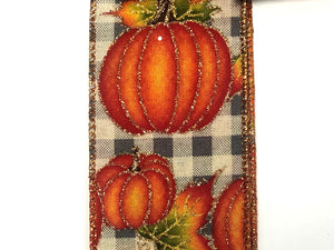 Gray Check with Pumpkins Ribbon