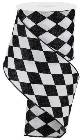 Black and White Harlequin Ribbon