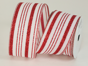 "Red and White Stripe 2.5"" Ribbon"