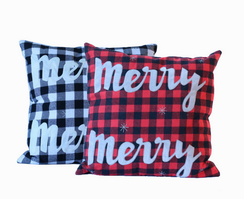 "Checkered ""Merry"" Pillow"