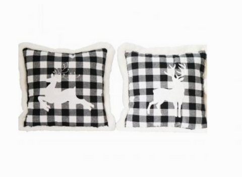 Black and White Reindeer Pillow