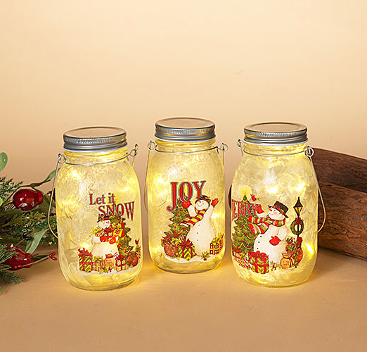 Light Up Snowman Jar