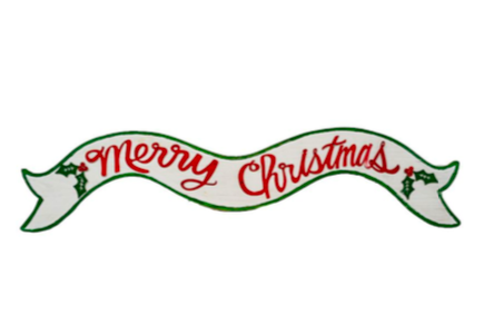 Merry Christmas Wood Ribbon Style Sign