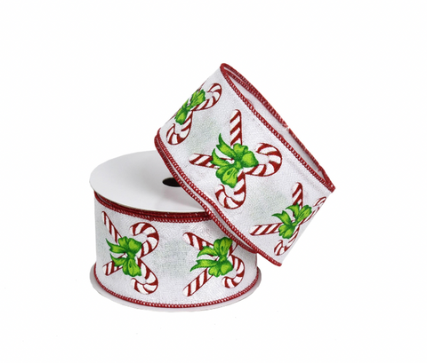Candy Cane with Bow Ribbon 2.5""