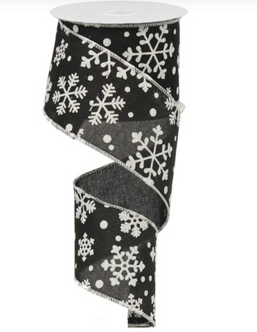 Black and White Falling Snow Ribbon 2.5""
