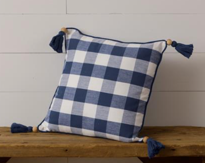 Navy Buffalo Check Pillow with Tassels