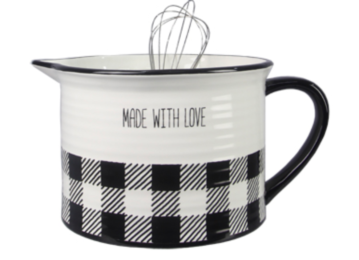 Black and White Buffalo Plaid Mixing Bowl