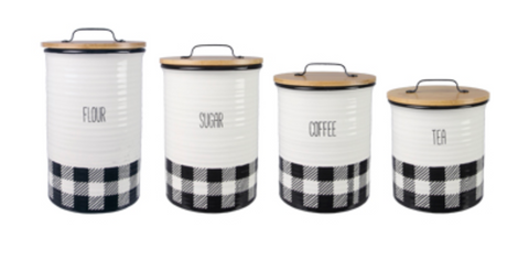 Black and White Buffalo Plaid Canister Set