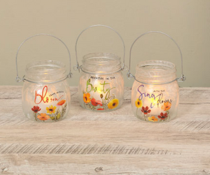 Frosted Glass Poppy Jar Set of 3