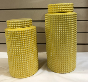 Yellow Dot Covered Jar