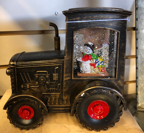 Brown Snowman Tractor Snow Globe
