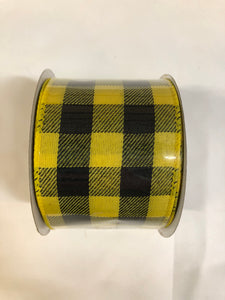 Black and Yellow Buffalo Check Ribbon
