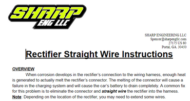 SHARP Mini Late Model Rectifier Wiring Service Bulletin