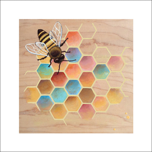 Honey bee wall art by Asheville NC artist Jennifer Barrineau, bee keepers gift, bee lovers, home decoration, bee nature art print