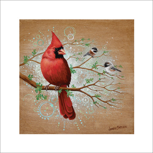 Feathered Friends Cardinal With Chickadees Print on Paper