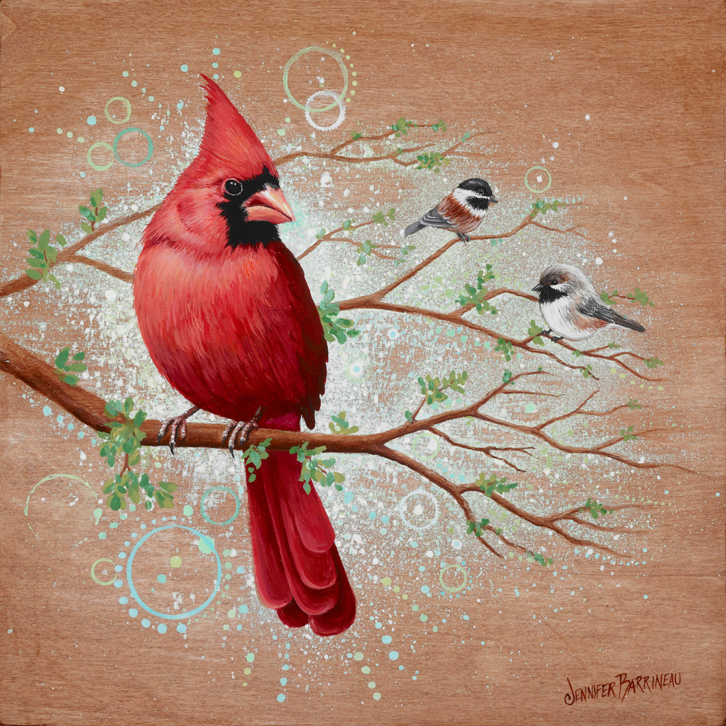 Feathered Friends Cardinal with Chickadees Original Painting