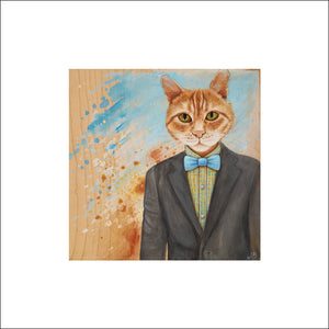 Clever Cat Art Print on Paper