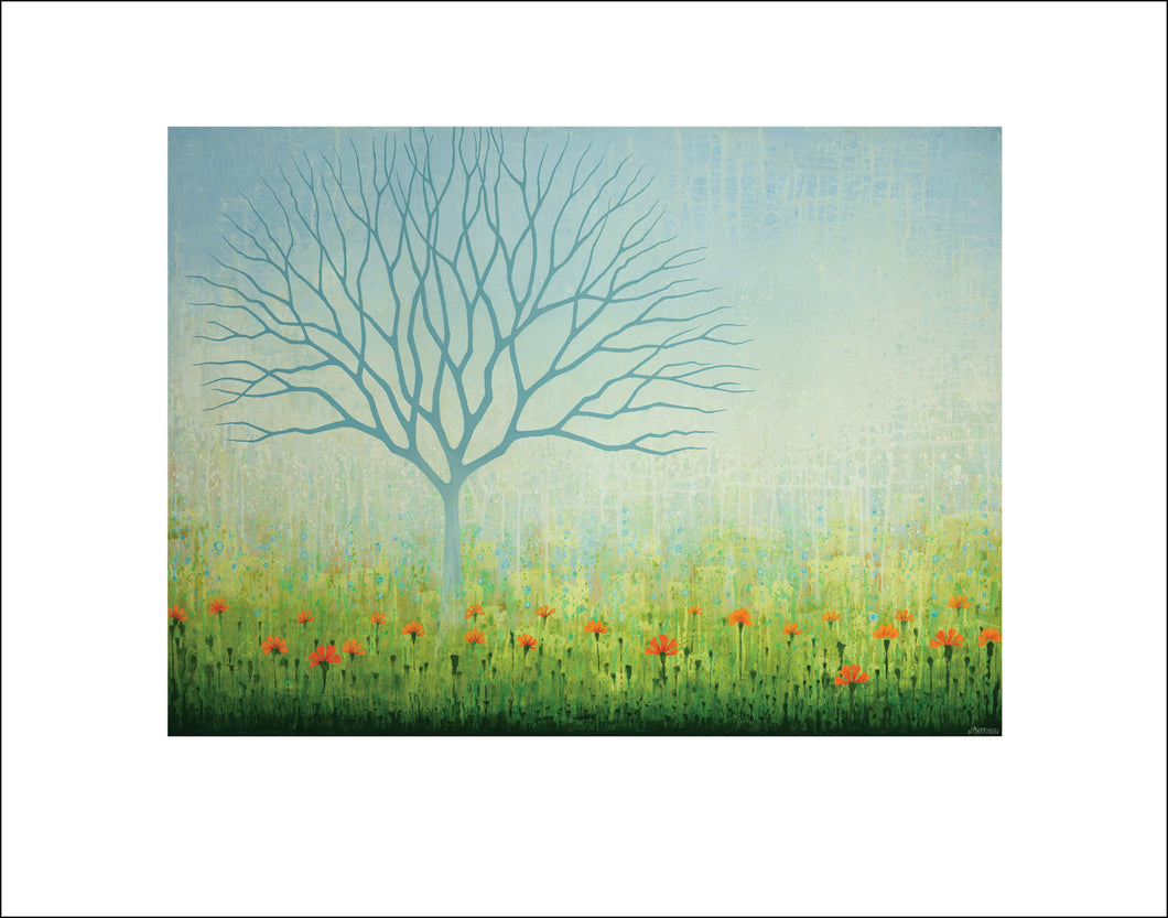 Home Decoration, Interior Design tree wall art by Asheville, North Carolina Artist Jennifer Barrineau, acrylic painting tree art print with blue, green and orange flowers.