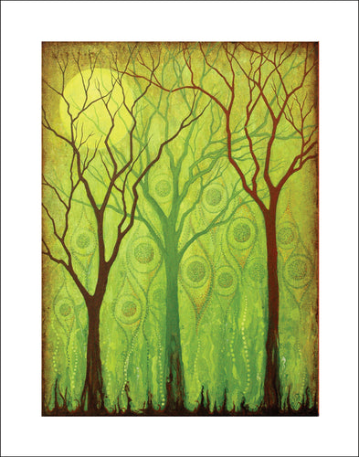 green tree art with moon, tree decor gift nature art, Asheville artist trees, moon and tree art with greens