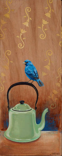 Indigo Bunting on a Tea Pot Original Painting