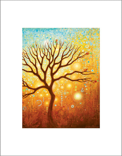 Home Decoration, Interior Design tree wall art by Asheville, North Carolina Artist Jennifer Barrineau, acrylic painting tree art print with warm gold tones.