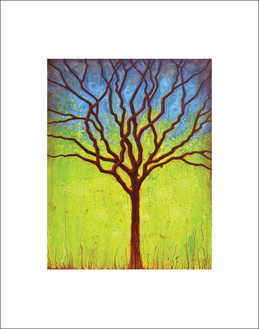 blue and green tree wall art, tree lovers gift, Asheville artist tree print