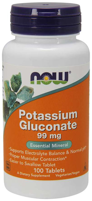 NOW Potassium Gluconate 99mg 100 Tablets
