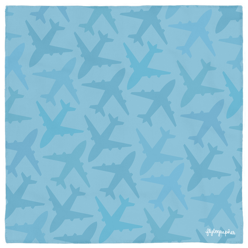 Blue bandana with airplanes on it