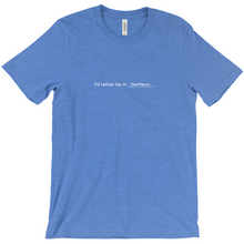 "Load image into Gallery viewer, blue 100% cotton jersey soft T-shirt with the words ""I'd rather be in Santorini"" in white font colour on front center"