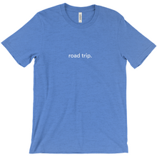 "Load image into Gallery viewer, blue cotton T-shirt with words ""road trip"" written on front in white colour font"