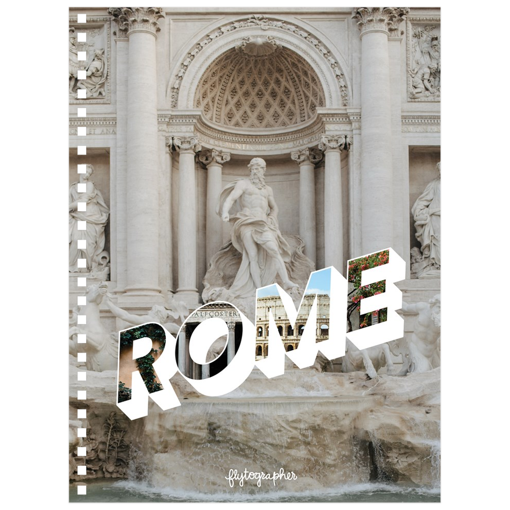 A 6.50x8.75 inch, spiral bound notebook with a picture of a place in Rome on the cover
