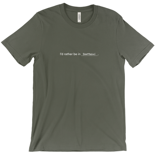 Army green 100% cotton jersey soft T-shirt with the words