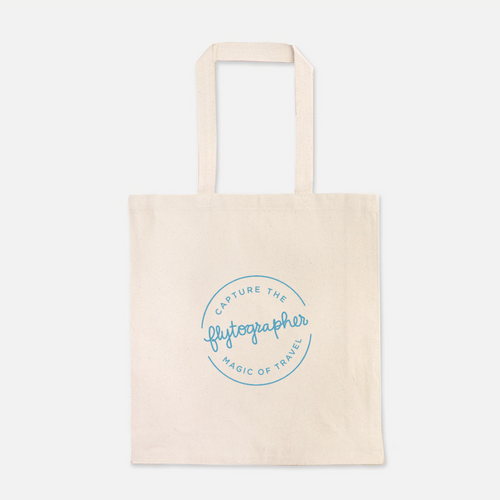 natural colour 100% Cotton Canvas bag with the Flytographer logo on the front