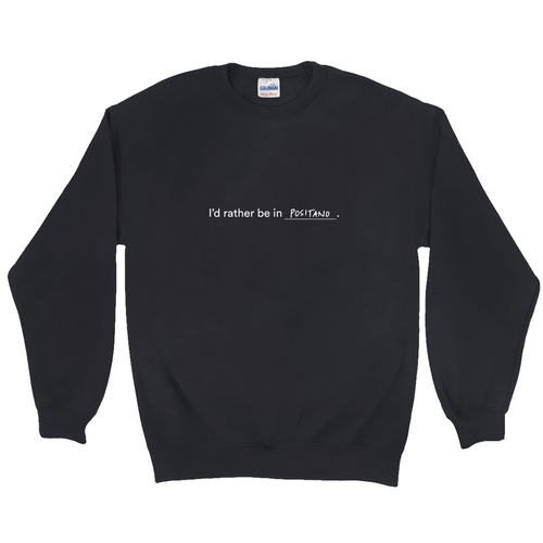 Black polyester and cotton crewneck with the words