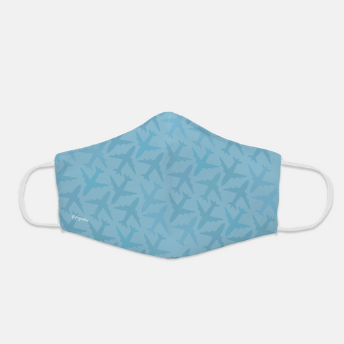 Blue face mask with graphic airplane print