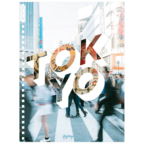 A 6.50x8.75 inch, spiral bound notebook with a picture of a place in Tokyo on the cover