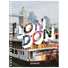 Load image into Gallery viewer, Colourful city 6.50x8.75 inch, spiral bound notebook with London written on the front.